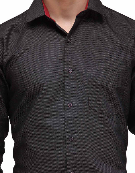 Hancock Black Slim Fit Solid Dobby Cotton Rich Formal Shirt