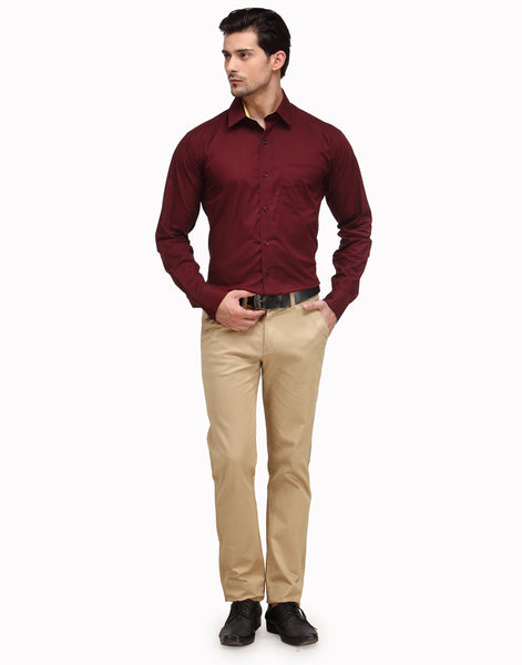 Hancock Maroon Slim Fit Solid Pure Cotton Shirt