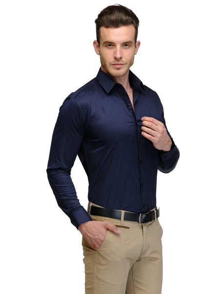 Hancock Navy Blue Pure Cotton Slim Fit Solid Shirt