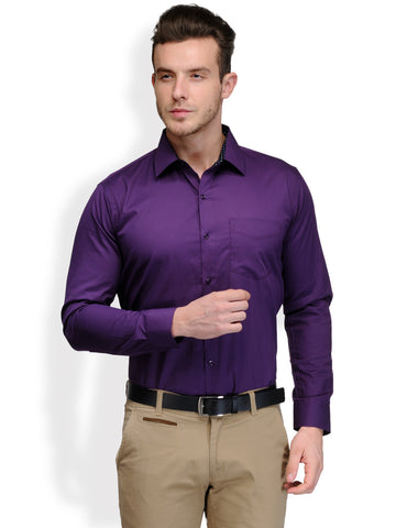 Hancock Purple Solid Pure Cotton Slim Fit Shirt