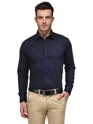 Hancock Navy Solid Pure Cotton Slim Fit Formal Shirt