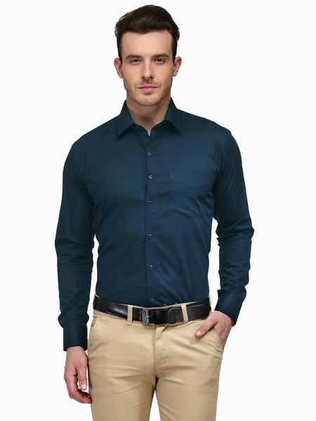 Hancock Turquoise Blue Solid Slim Fit Pure Cotton Formal Shirt