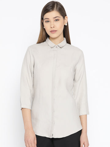 Hancock Women Beige Pure Cotton Solid Slim Fit Formal Shirt