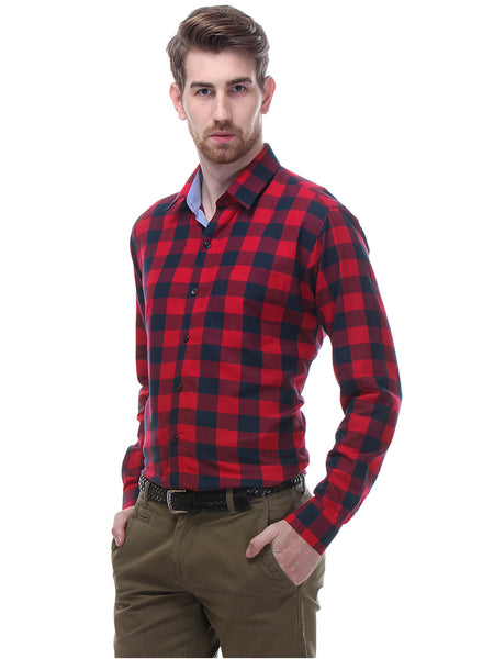 Hancock Red Checks Slim Fit Pure Cotton Formal Shirt