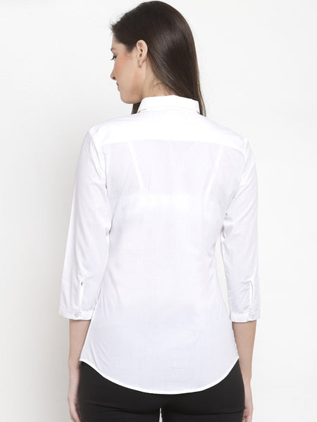 Hancock Women White Pure Cotton Solid Slim Fit Formal Shirt