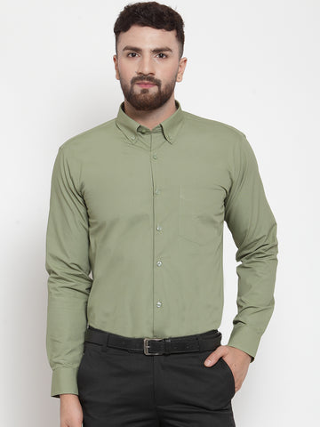 Hancock Men Light Green Pure Cotton Solid Slim Fit Formal Shirt