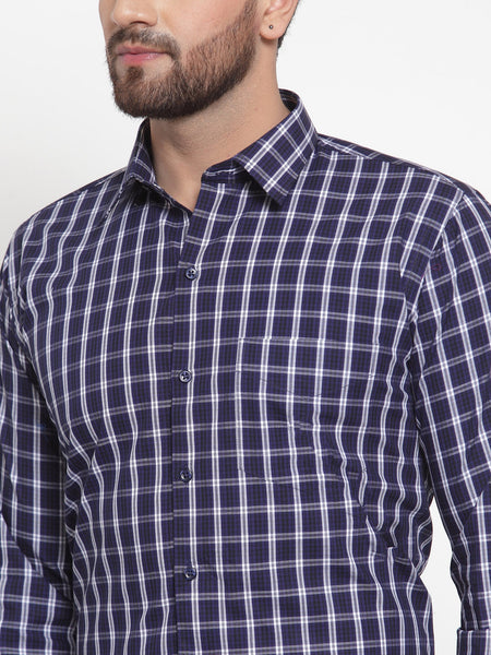 Hancock Men Navy Pure Cotton Checked Slim Fit Formal Shirt