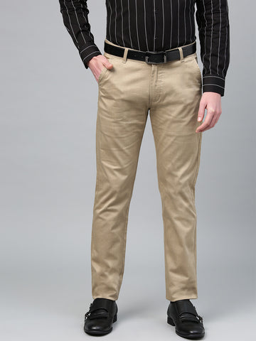 Hancock Men Beige Cotton Checked Slim Fit Casual Trouser