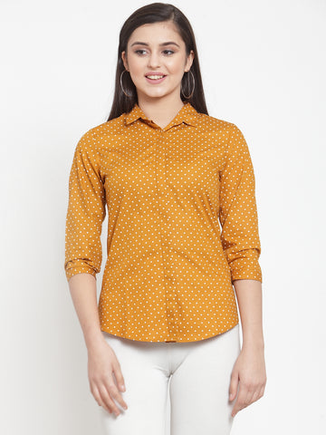 Hancock Women Mustard Pure Cotton Printed Slim Fit Formal Shirt