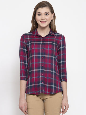 Hancock Women Navy & Red Viscose Rayon Checked Slim Fit Formal Shirt