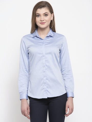 Hancock Women Blue Pure Cotton Solid Slim Fit Formal Shirt