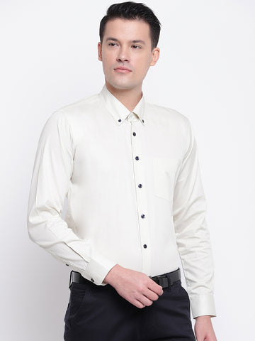 Hancock Men Cream Pure Cotton Solid Slim Fit Formal Shirt