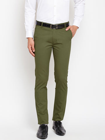 Hancock Men Green Pure Cotton Solid Slim Fit Casual Trouser