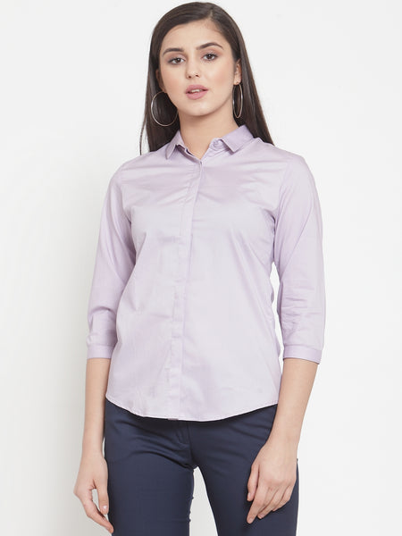 Hancock Women Purple Cotton Elastane Solid Slim Fit Formal Shirt