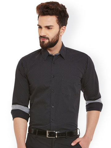 Hancock Black Solid Pure Cotton Slim Fit Shirt
