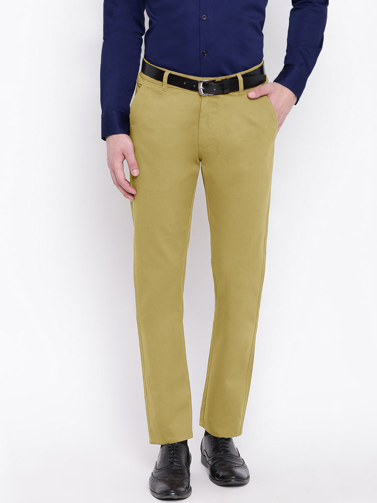 Hancock Men Dark Beige Pure Cotton Solid Slim Fit Casual Trouser