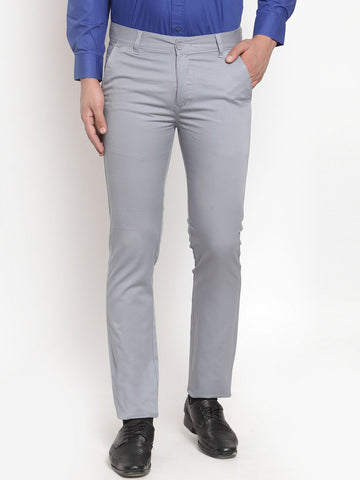 Hancock Men Grey Pure Cotton Solid Slim Fit Casual Trouser