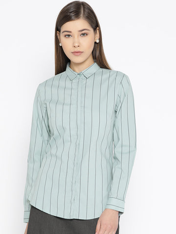 Hancock Women Green Pure Cotton Striped Slim Fit Formal Shirt