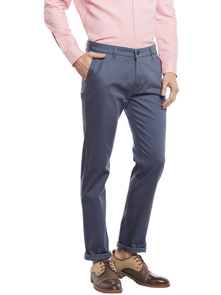 Hancock Grey Checked Cotton Stretch Slim Fit Casual Chinos