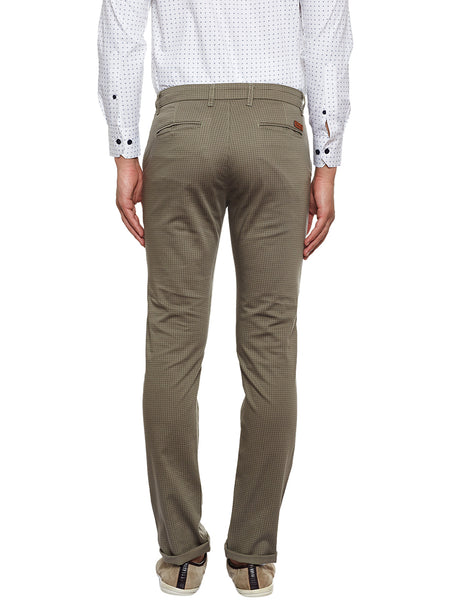 Hancock Brown Checked Slim Fit Casual Stretchable Chinos Trouser