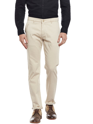 Hancock Beige Checked Cotton Stretch Slim Fit Casual Chinos