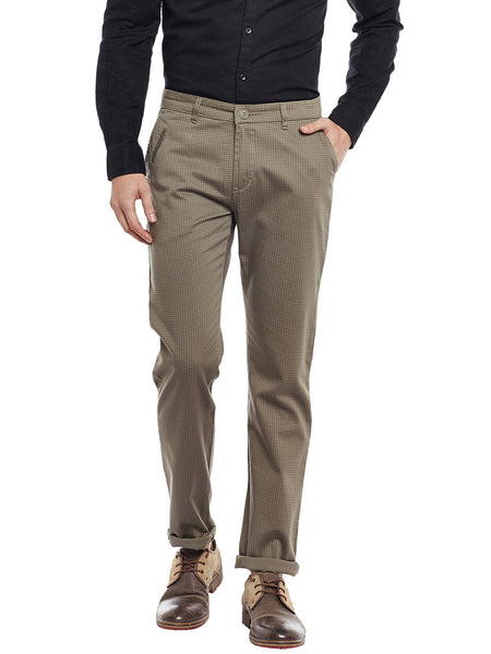 Hancock Brown Checked Cotton Stretch Slim Fit Casual Chinos