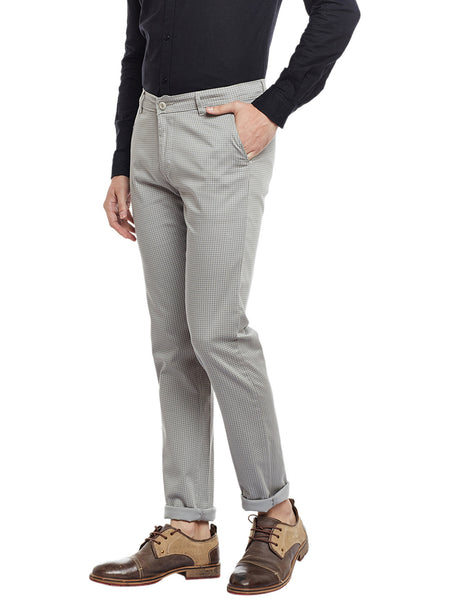 Hancock Cloud Grey Checked Cotton Stretch Slim Fit Casual Chinos