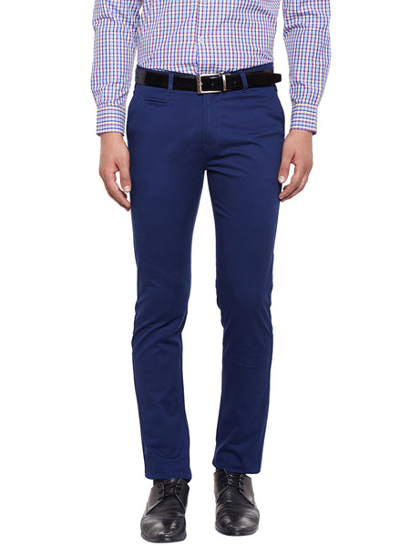 Hancock Navy Solid Slim Fit Casual Stretchable Chinos Trouser