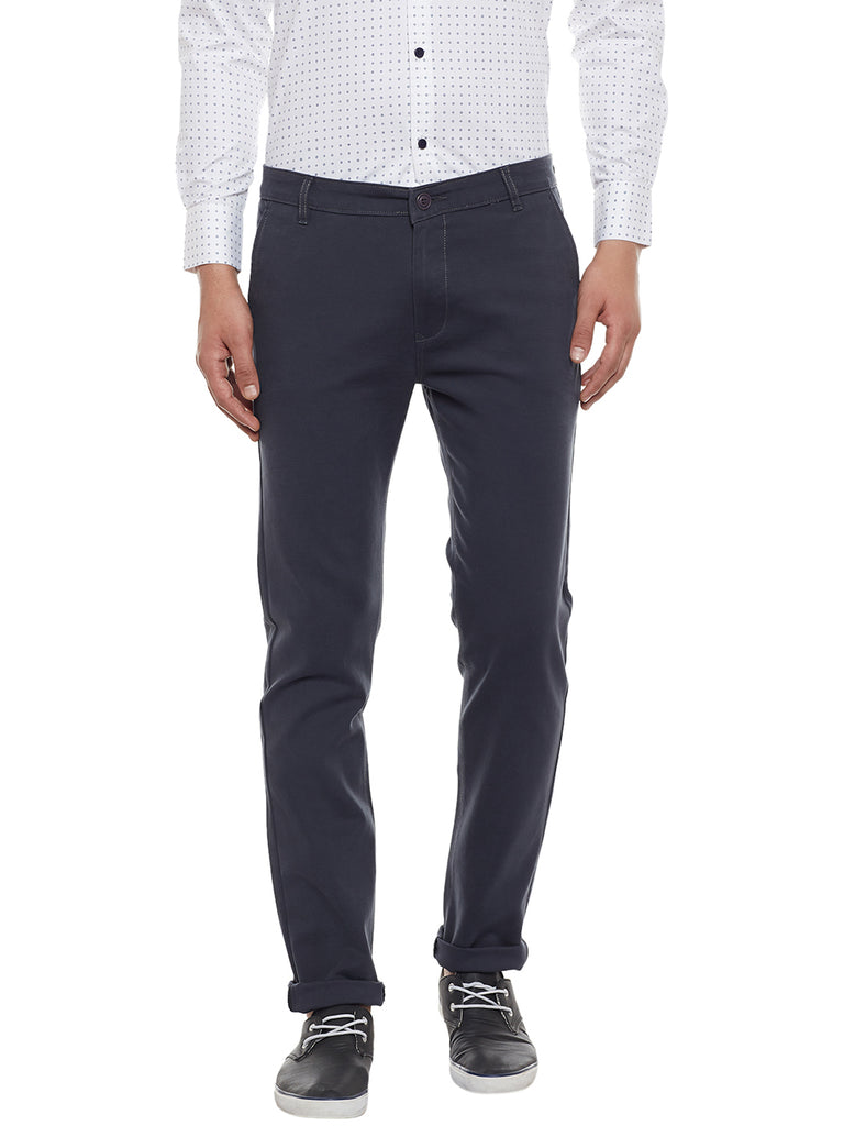 Hancock Grey Solid Slim Fit Casual Stretchable Chinos Trouser