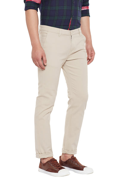 Hancock Beige Solid Slim Fit Casual Stretchable Chinos Trouser