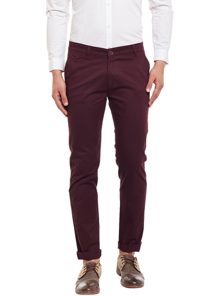 Hancock Wine Solid  Cotton Stretch Slim Fit Casual Chinos