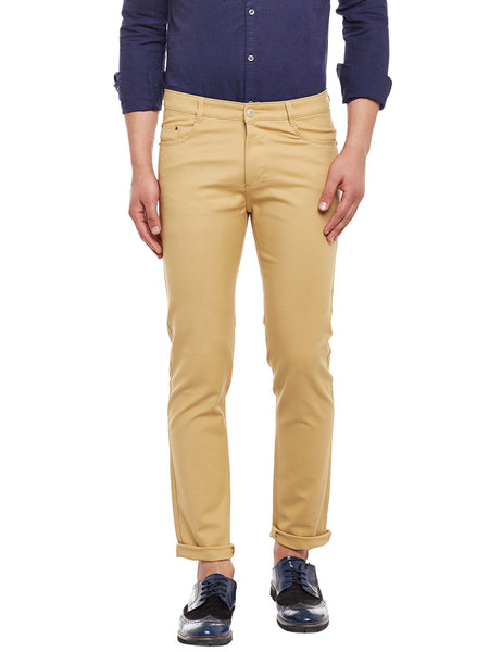 Hancock Beige Solid  Cotton Stretch Slim Fit Casual Chinos