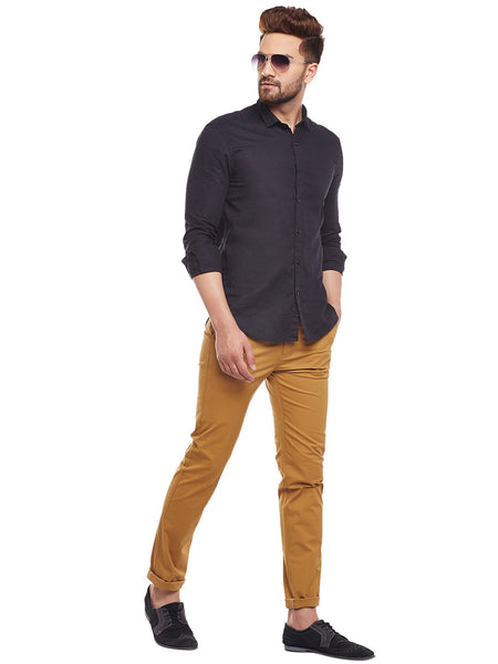 Hancock Khaki Solid  Cotton Stretch Slim Fit Casual Chinos
