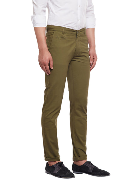 Hancock Olive Solid  Cotton Stretch Slim Fit Casual Chinos