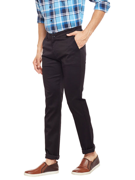Hancock Black Solid  Cotton Stretch Slim Fit Casual Chinos