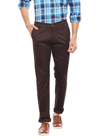 Hancock Brown Solid  Cotton Stretch Slim Fit Casual Chinos