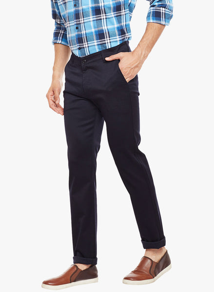 Hancock Navy Solid  Cotton Stretch Slim Fit Casual Chinos