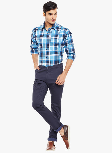 Hancock Navy Printed  Cotton Stretch Slim Fit Casual Chinos