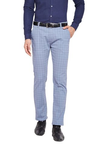 Hancock Blue & Grey Self Design Checks Stretchable Mid-Rise Slim Fit Chinos