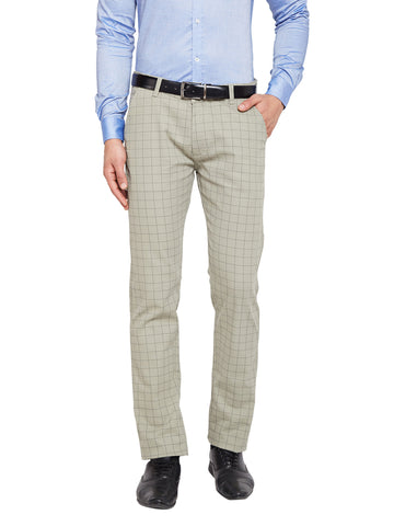 Hancock Sage Green Self Design Checks Stretchable Mid-Rise Slim Fit Chinos