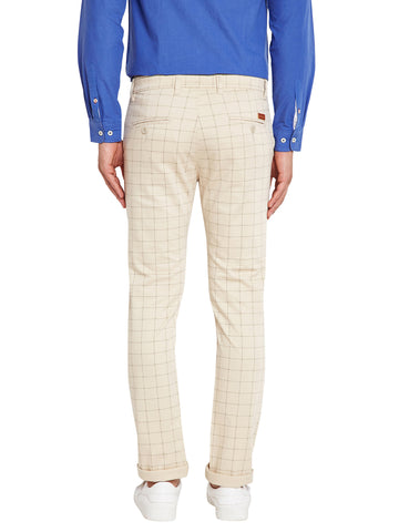 Hancock Beige Self Design Check Stretchable Mid-Rise Slim Fit Chinos