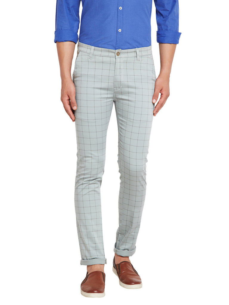 Hancock Green Self Design Checks Stretchable Mid-Rise Slim Fit Chinos