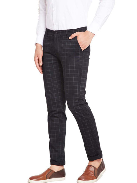 Hancock Black Self Design Checks Stretchable Mid-Rise Slim Fit Chinos