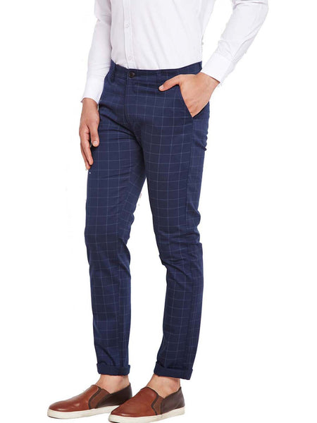 Hancock Navy Blue Self Design Checks Stretchable Mid-Rise Slim Fit Chinos