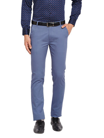 Hancock Blue Self Design Solid Stretchable Mid-Rise Slim Fit Chinos