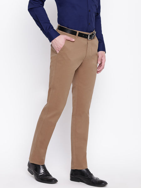 Hancock Men Beige Pure Cotton Solid Slim Fit Casual Trouser