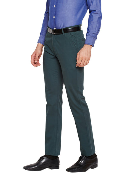 Hancock Bottle Green Self Design Solid Stretchable Mid-Rise Slim Fit Chinos
