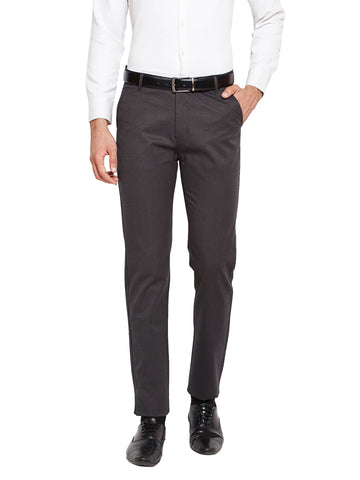 Hancock Grey Self Design Solid Stretchable Mid-Rise Slim Fit Chinos