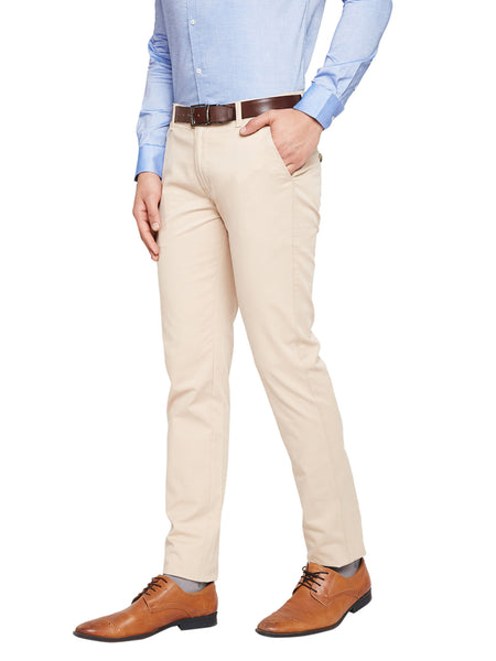 Hancock Beige Self Design Solid Stretchable Mid-Rise Slim Fit Chinos