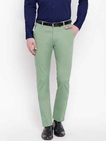 Hancock Men Green Cotton Solid Slim Fit Casual Trouser